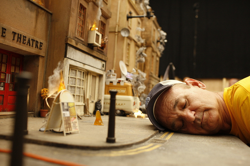 kathrynsora: Billy Murray on the set of Fantastic Mr. Fox, 2009.